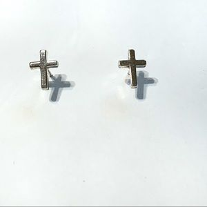 Sterling silver post back cross earrings